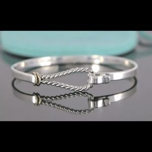 T&C 14K&Silver Twist Rope Hook Eye Bangle Bracelet
